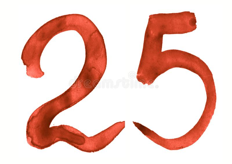 The number 25, painted with a brush in watercolor. Vintage symbol. Made by hand royalty free illustration