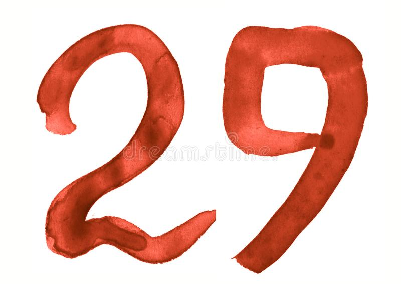 The number 29, painted with a brush in watercolor. Vintage symbol. Made by hand royalty free illustration