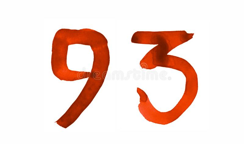 The number 93, painted with a brush in watercolor. Vintage symbol. Made by hand stock illustration