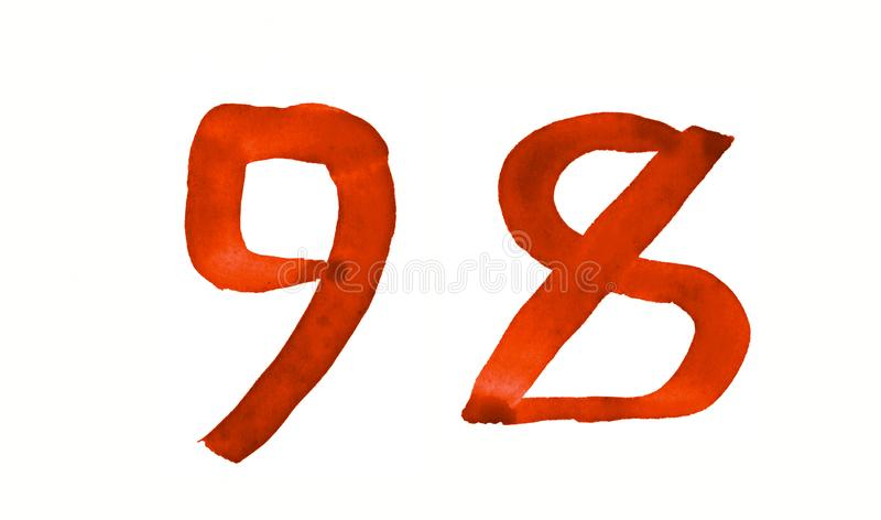 The number 98, painted with a brush in watercolor. Vintage symbol. Made by hand stock illustration