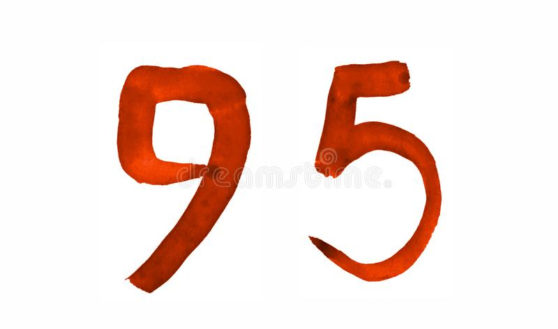 The number 95, painted with a brush in watercolor. Vintage symbol. Made by hand royalty free illustration