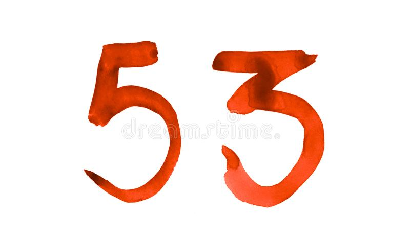 The number 53, painted with a brush in watercolor. Vintage symbol. Made by hand royalty free illustration
