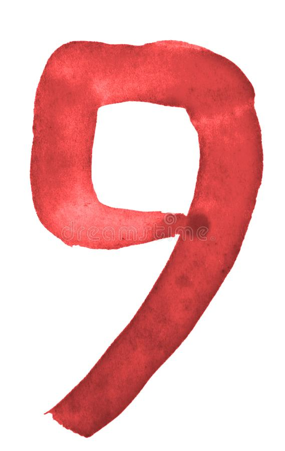 The number 9, painted with a brush in watercolor. Vintage symbol. Made by hand vector illustration