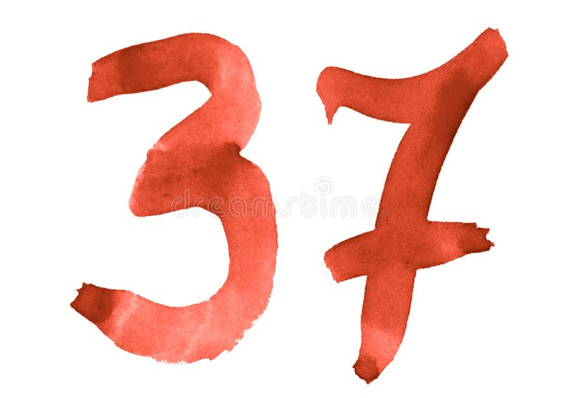 The number 37, painted with a brush in watercolor. Vintage symbol. Made by hand vector illustration