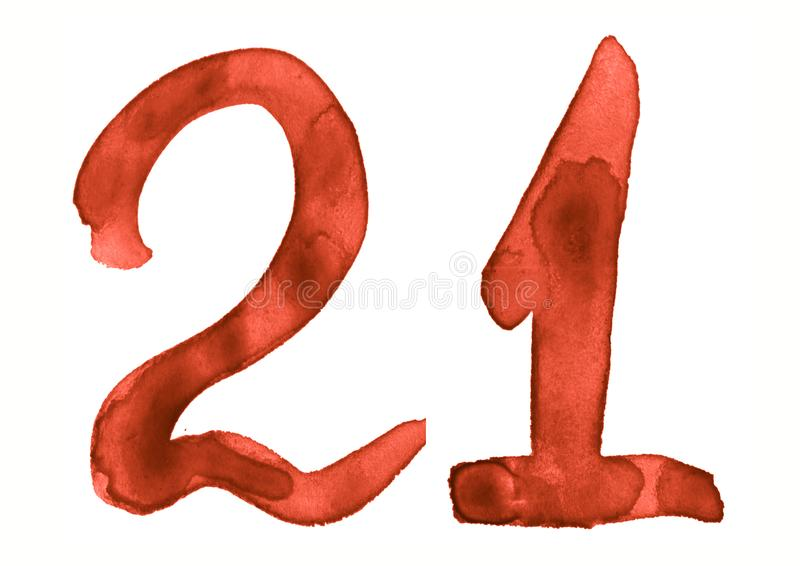 The number 21, painted with a brush in watercolor. Vintage symbol. Made by hand vector illustration