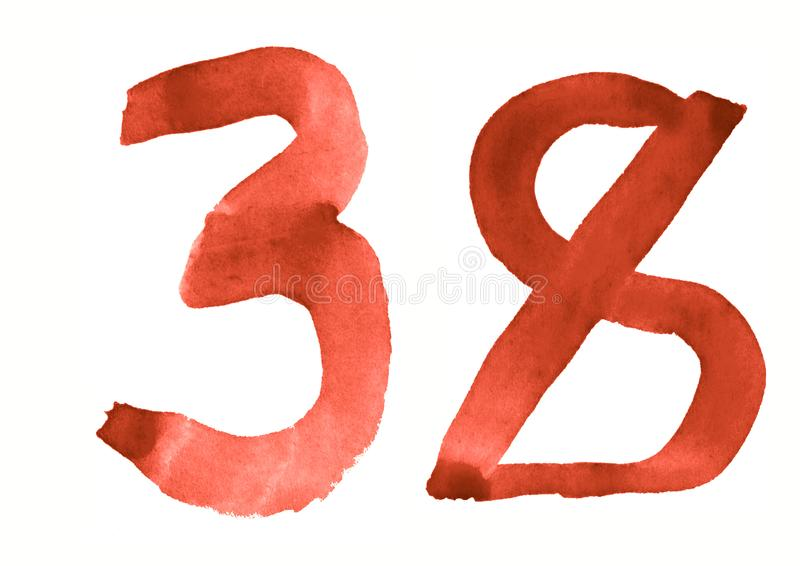 The number 38, painted with a brush in watercolor. Vintage symbol. Made by hand stock illustration