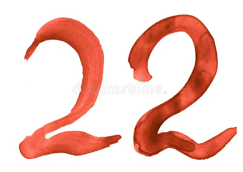 The number 22, painted with a brush in watercolor. Vintage symbol. Made by hand royalty free illustration