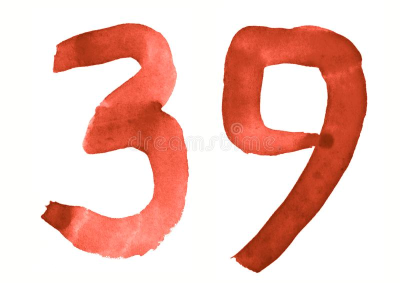 The number 39, painted with a brush in watercolor. Vintage symbol. Made by hand stock illustration