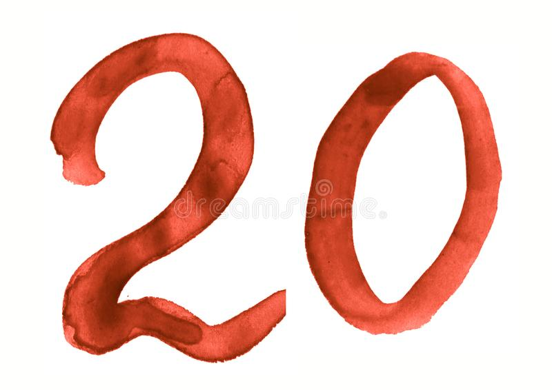 The number 20, painted with a brush in watercolor. Vintage symbol. Made by hand stock illustration