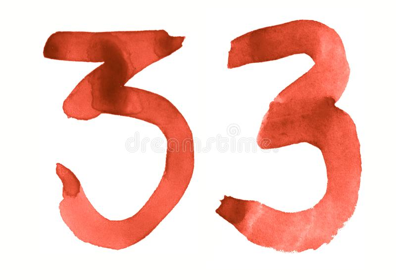 The number 33, painted with a brush in watercolor. Vintage symbol. Made by hand stock illustration