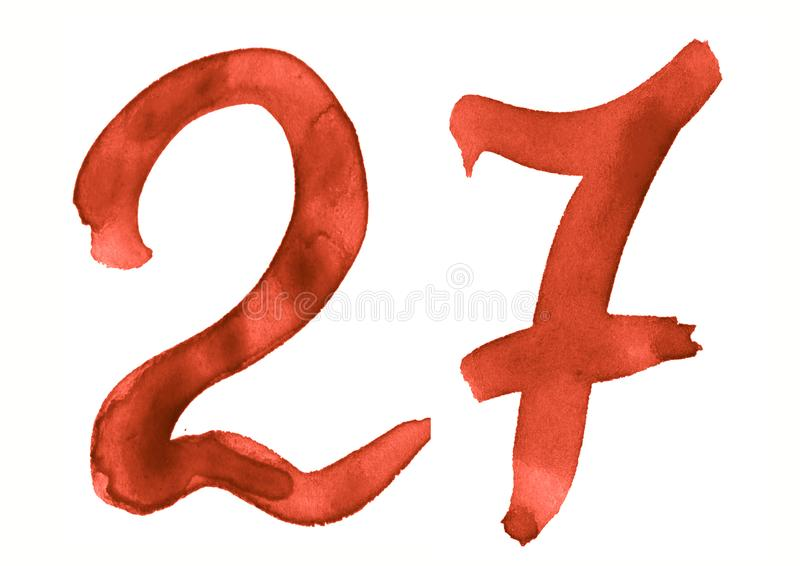 The number 27, painted with a brush in watercolor. Vintage symbol. Made by hand stock illustration