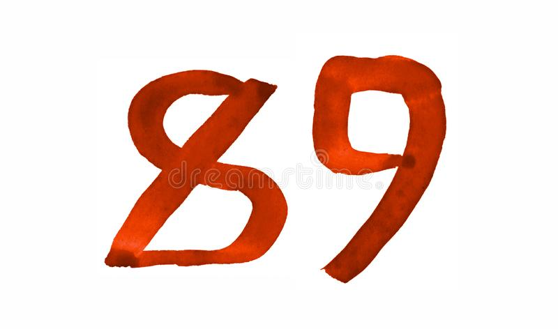 The number 89, painted with a brush in watercolor. Vintage symbol. Made by hand vector illustration