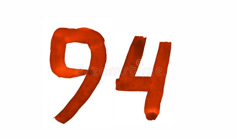 The number 94, painted with a brush in watercolor. Vintage symbol. Made by hand vector illustration