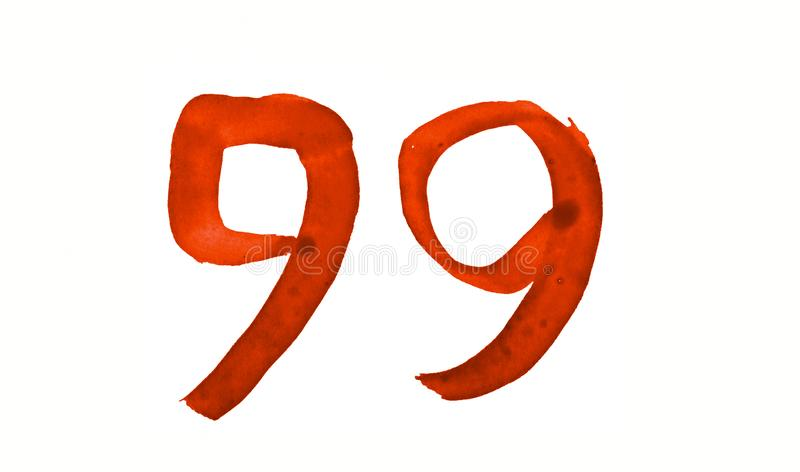 The number 99, painted with a brush in watercolor. Vintage symbol. Made by hand vector illustration