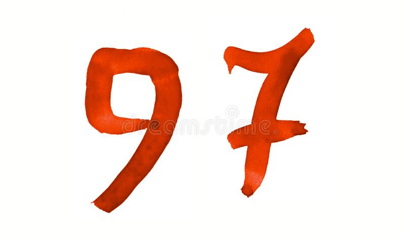 The number 97, painted with a brush in watercolor. Vintage symbol. Made by hand vector illustration