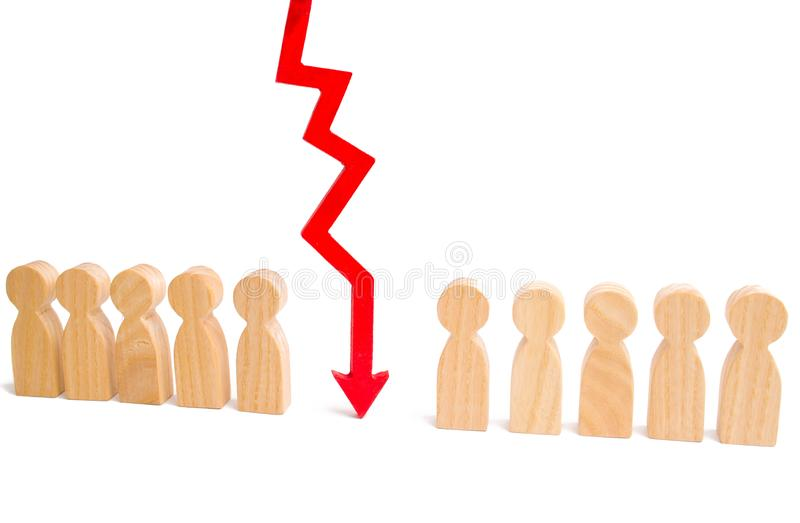 A number of people and a red arrow separating them. The concept is the division of the collective, the division of the social clas royalty free stock image