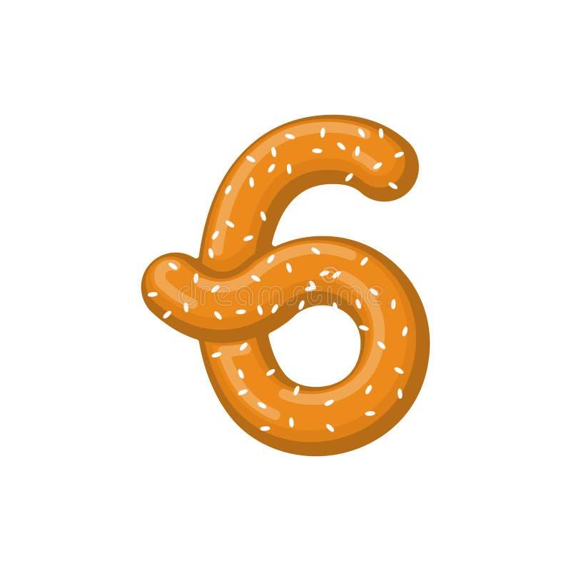Number 6 pretzel. snack font six symbol. Food alphabet sign. Traditional German meal is ABC. Bake numeric royalty free illustration