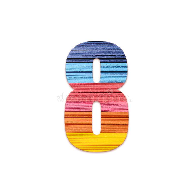 Number 8. Rainbow color paper. royalty free stock image