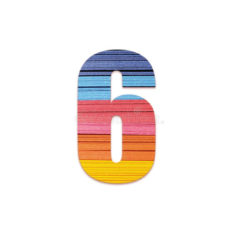 Number 6. Rainbow color paper. royalty free stock photos