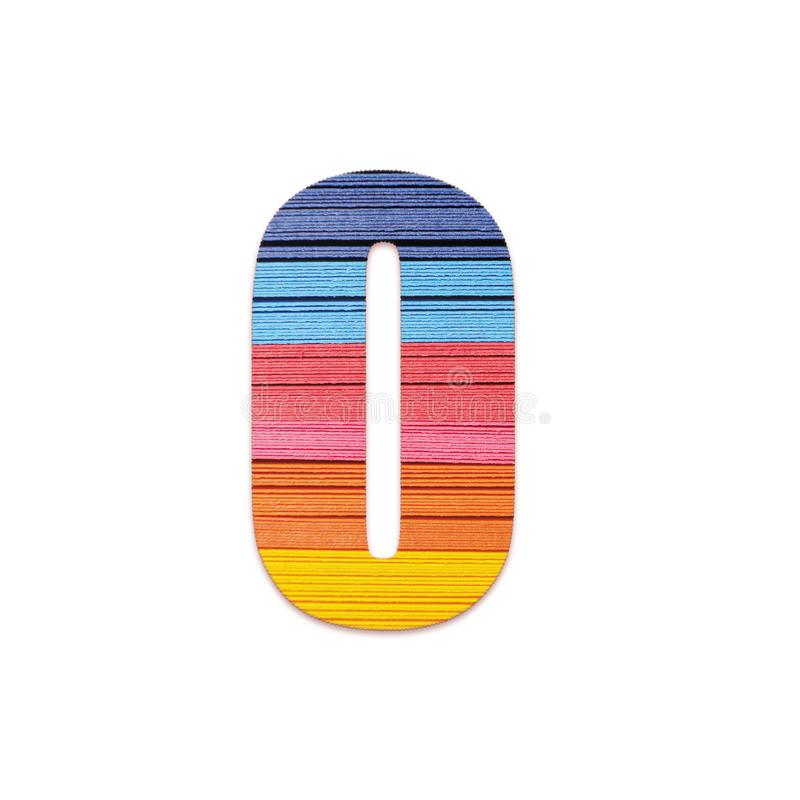 Number 0. Rainbow color paper. stock photos