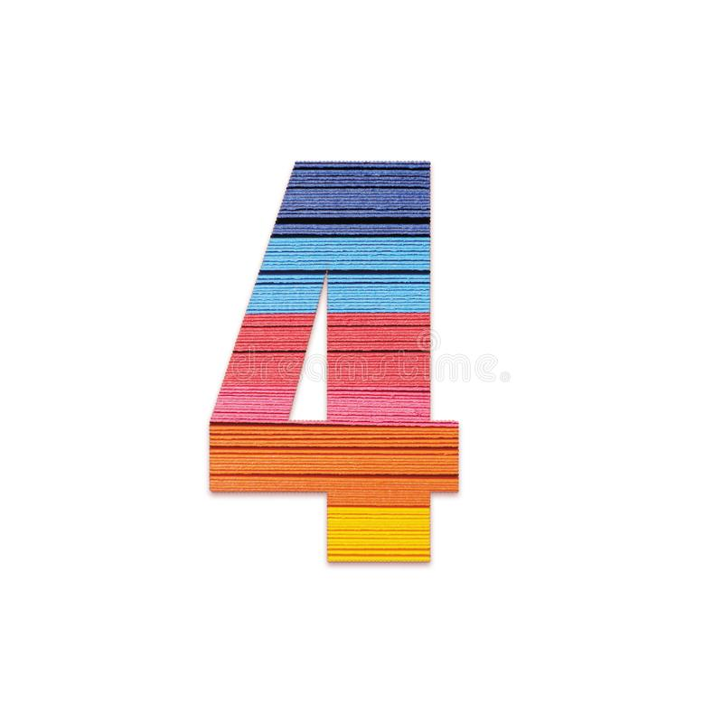 Number 4. Rainbow color paper. stock photo