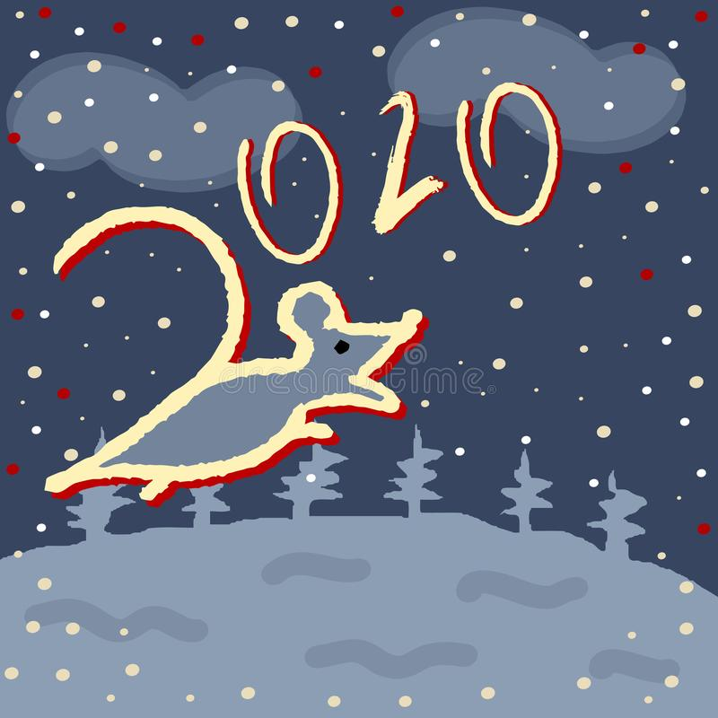 2020 number and rat on a winter snowy background. The contours of the mice. Vector illustration stock illustration