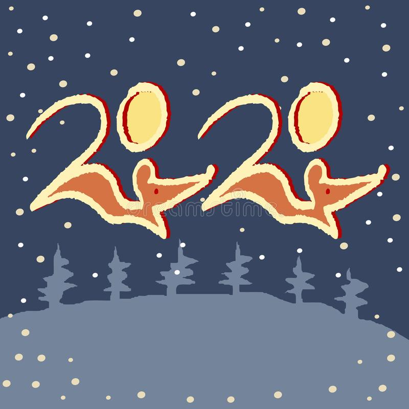 2020 number and rats on a winter snowy background with abstract christmas trees. The contours of the mice. Vector stock illustration