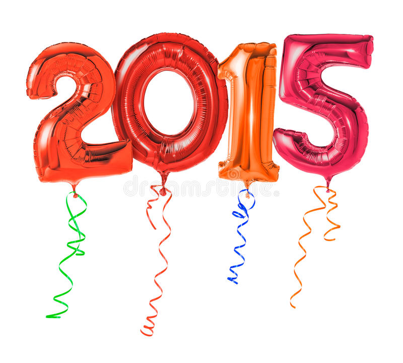 Number 2015. Red balloons with ribbon - Number 2015 royalty free stock images