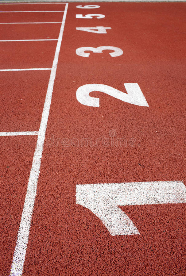 Number in the red track stock photography