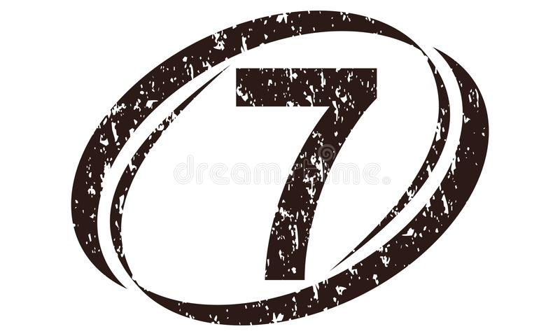 Number 7 Rough Logo royalty free illustration