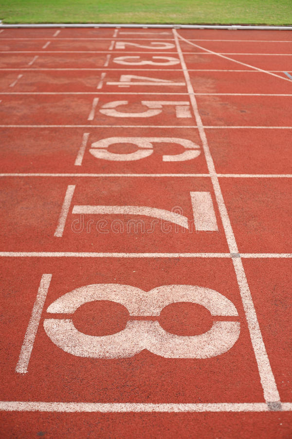Number in running track stock photos