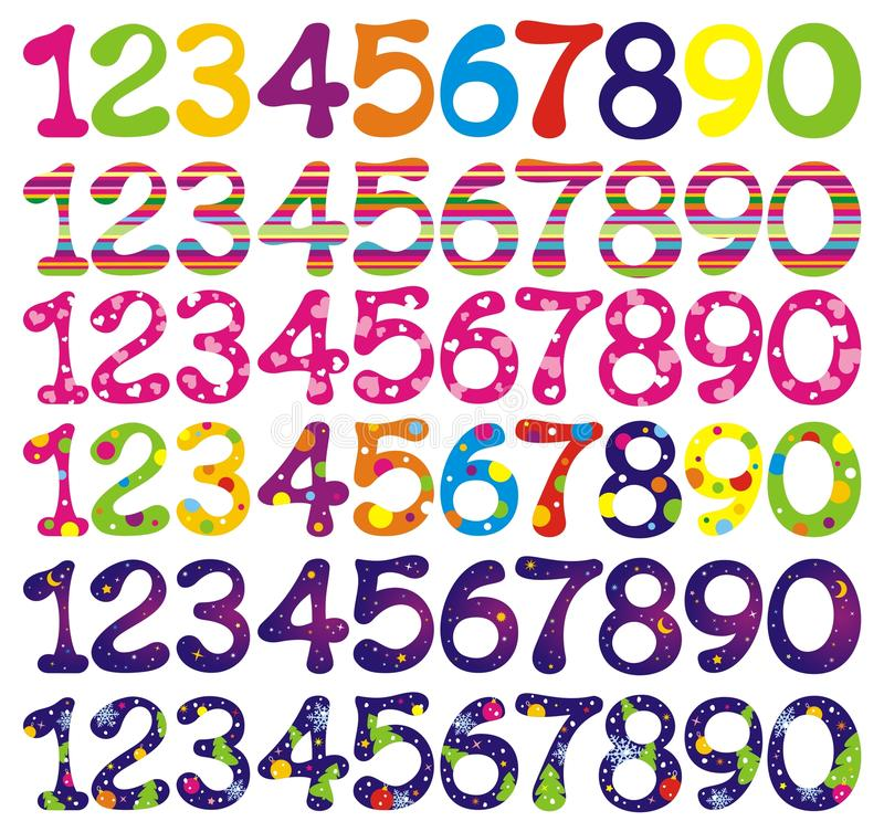 Download Number Set With Abstract Patterns. Stock Illustration - Image: 11147375