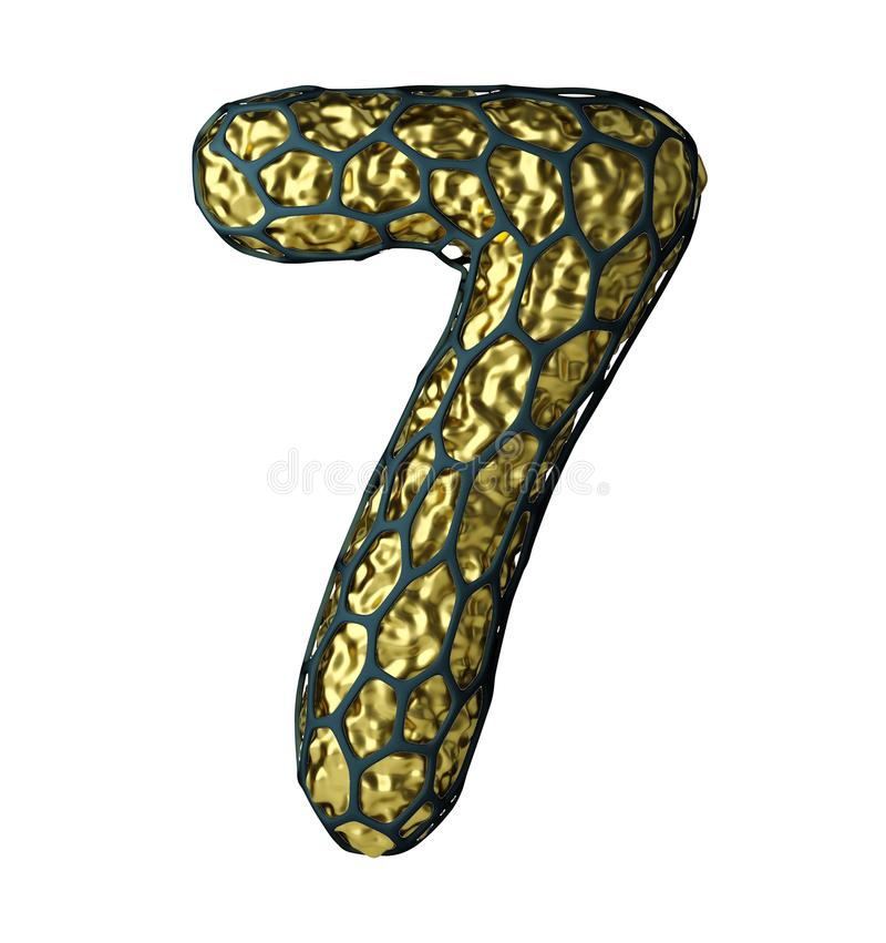 Number 7 seven made of Golden shining metallic 3D with black cage isolated on white stock illustration