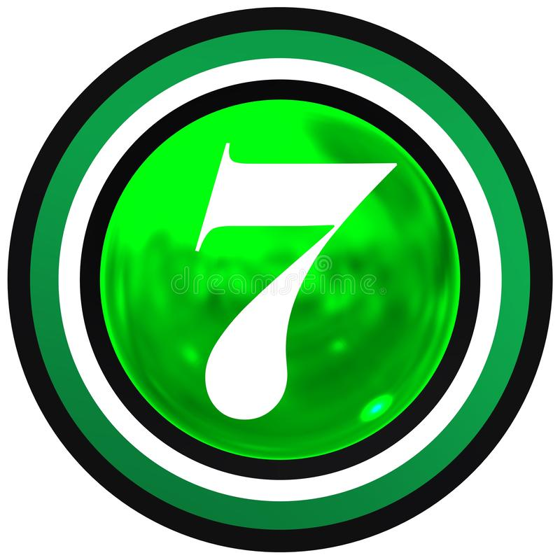 Number seven over bright sphere with circles royalty free stock photos