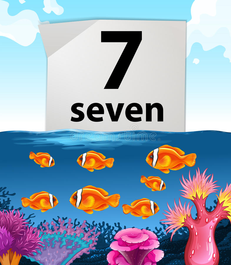 Number seven with seven fish swimming in the sea. Illustration royalty free illustration