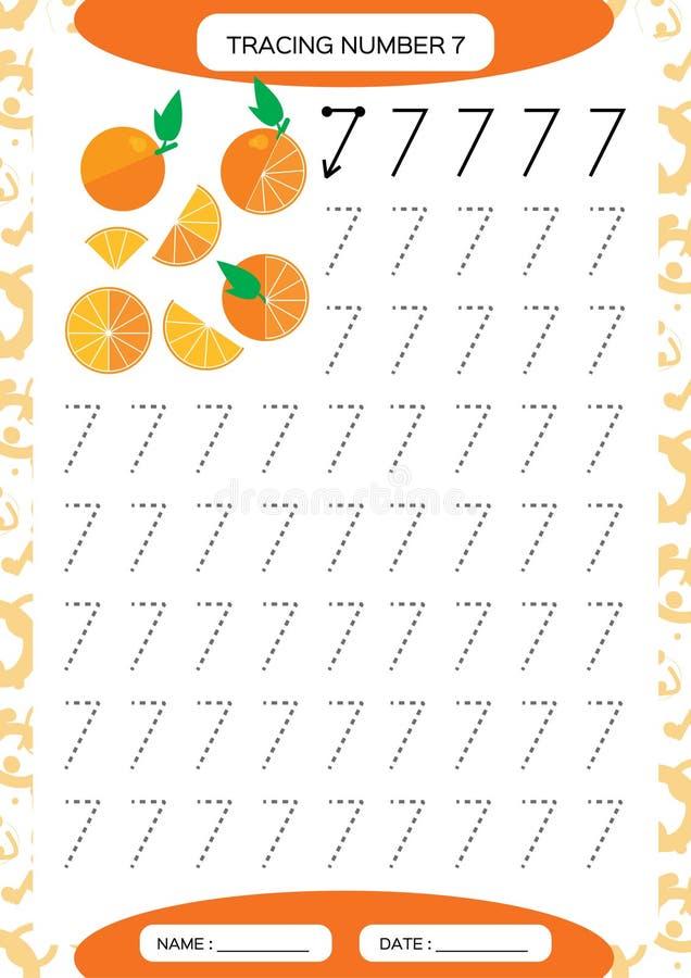 Number 7. Seven . Tracing Worksheet. Juicy orange. Preschool worksheet, practicing motor skills - tracing dashed lines. Number 7. Seven . Tracing Worksheet for royalty free illustration
