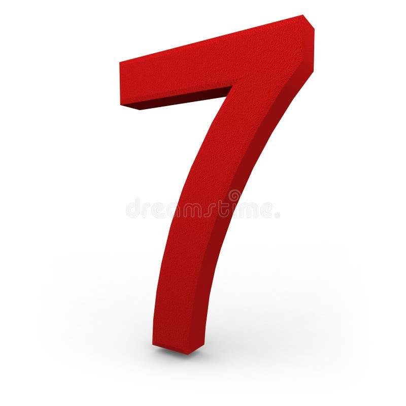 Number Seven on White Background. A red number seven with texture sits on white background vector illustration