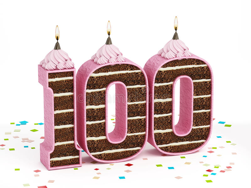 Number 100 shaped chocolate birthday cake with lit candle. Isolated on white background stock illustration