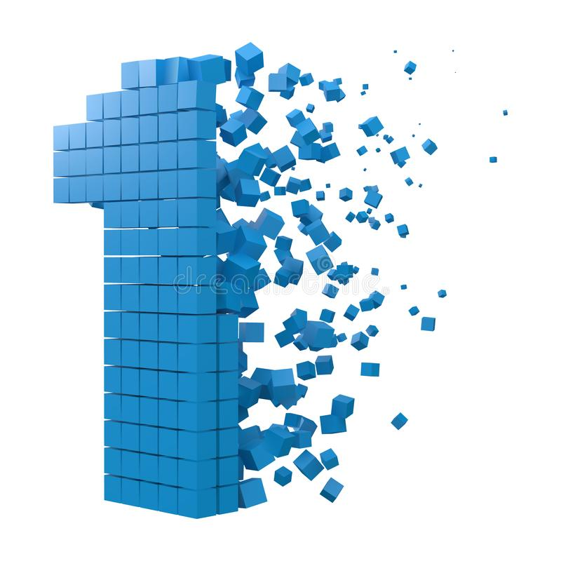Number 1 shaped data block. version with blue cubes. 3d pixel style vector illustration. Suitable for blockchain, technology, computer and abstract themes royalty free illustration