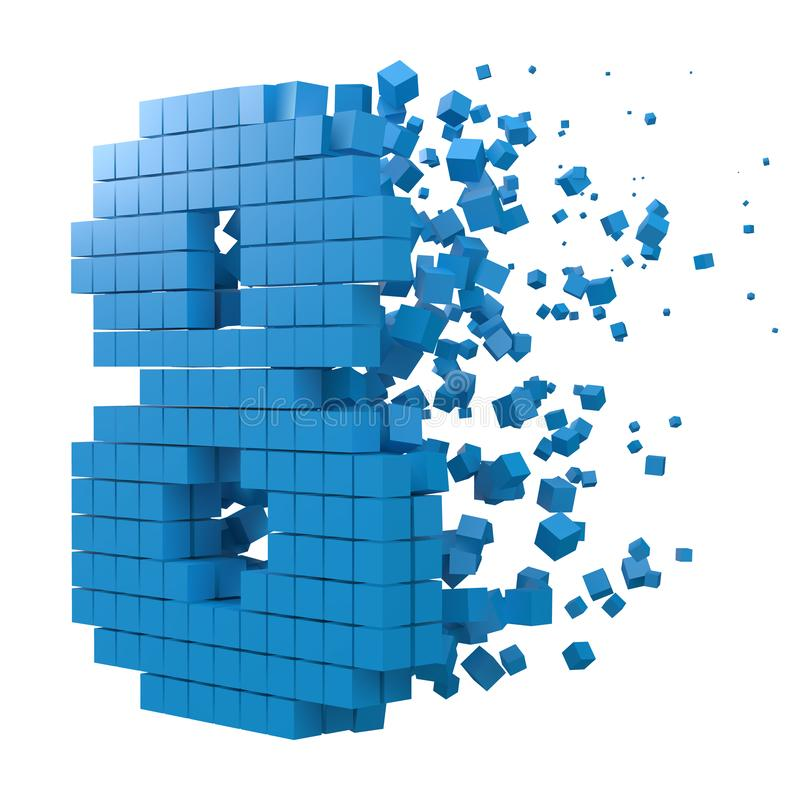 Number 8 shaped data block. version with blue cubes. 3d pixel style vector illustration. Suitable for blockchain, technology, computer and abstract themes royalty free illustration