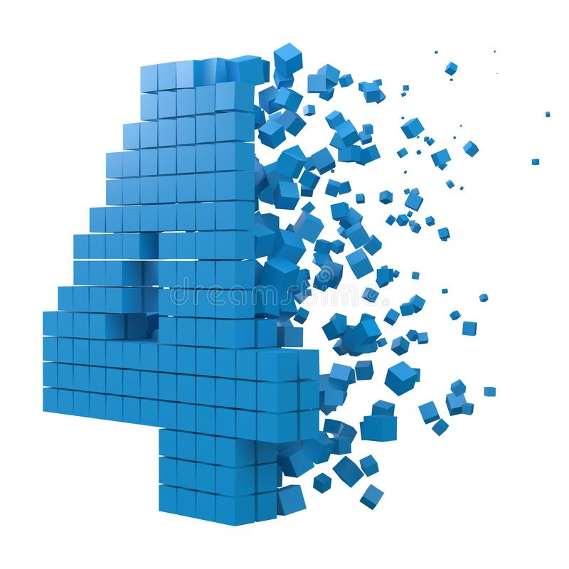 Number 4 shaped data block. version with blue cubes. 3d pixel style vector illustration. Suitable for blockchain, technology, computer and abstract themes vector illustration