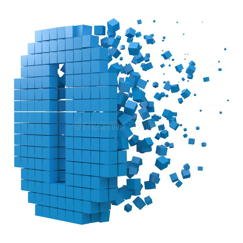 Number 0 shaped data block. version with blue cubes. 3d pixel style vector illustration. Suitable for blockchain, technology, computer and abstract themes royalty free illustration