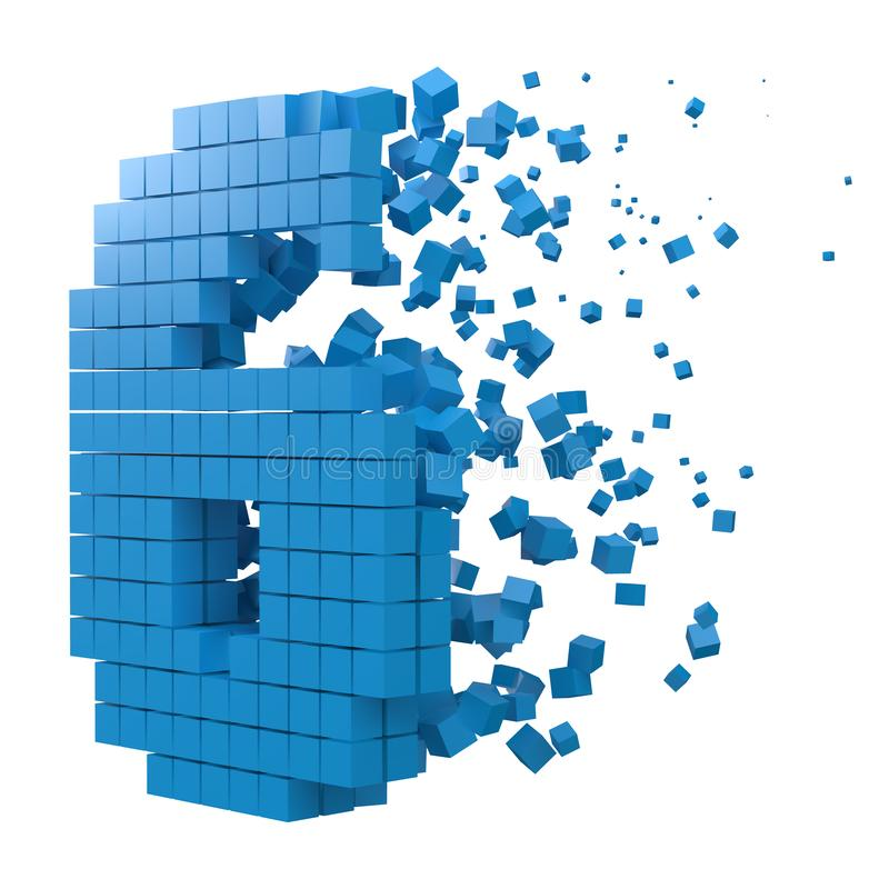 Number 6 shaped data block. version with blue cubes. 3d pixel style vector illustration. Suitable for blockchain, technology, computer and abstract themes royalty free illustration