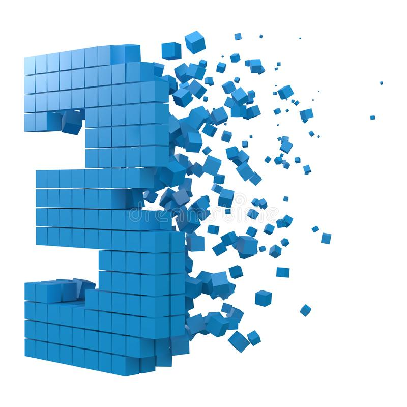 Number 3 shaped data block. version with blue cubes. 3d pixel style vector illustration. Suitable for blockchain, technology, computer and abstract themes stock illustration