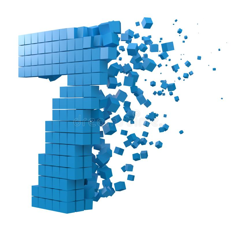 Number 7 shaped data block. version with blue cubes. 3d pixel style vector illustration. Suitable for blockchain, technology, computer and abstract themes stock illustration