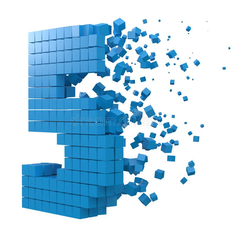 Number 5 shaped data block. version with blue cubes. 3d pixel style vector illustration. Suitable for blockchain, technology, computer and abstract themes vector illustration