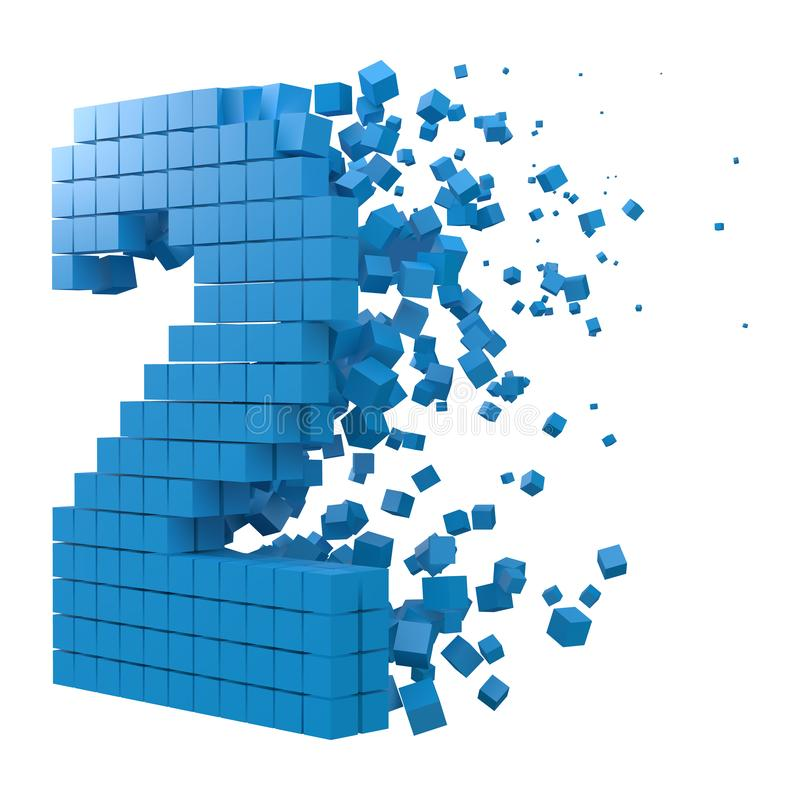Number 2 shaped data block. version with blue cubes. 3d pixel style vector illustration. Suitable for blockchain, technology, computer and abstract themes stock illustration