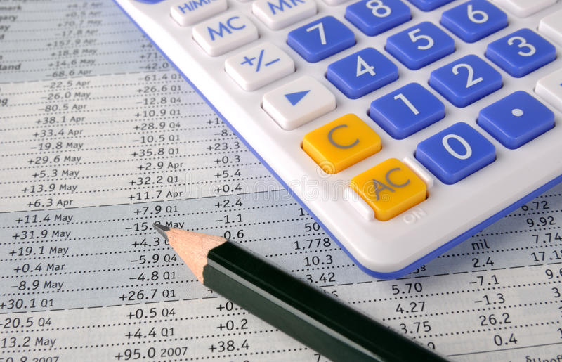 Download Number Sheet, Pencil And Calculator Royalty Free Stock Photography - Image: 13728507