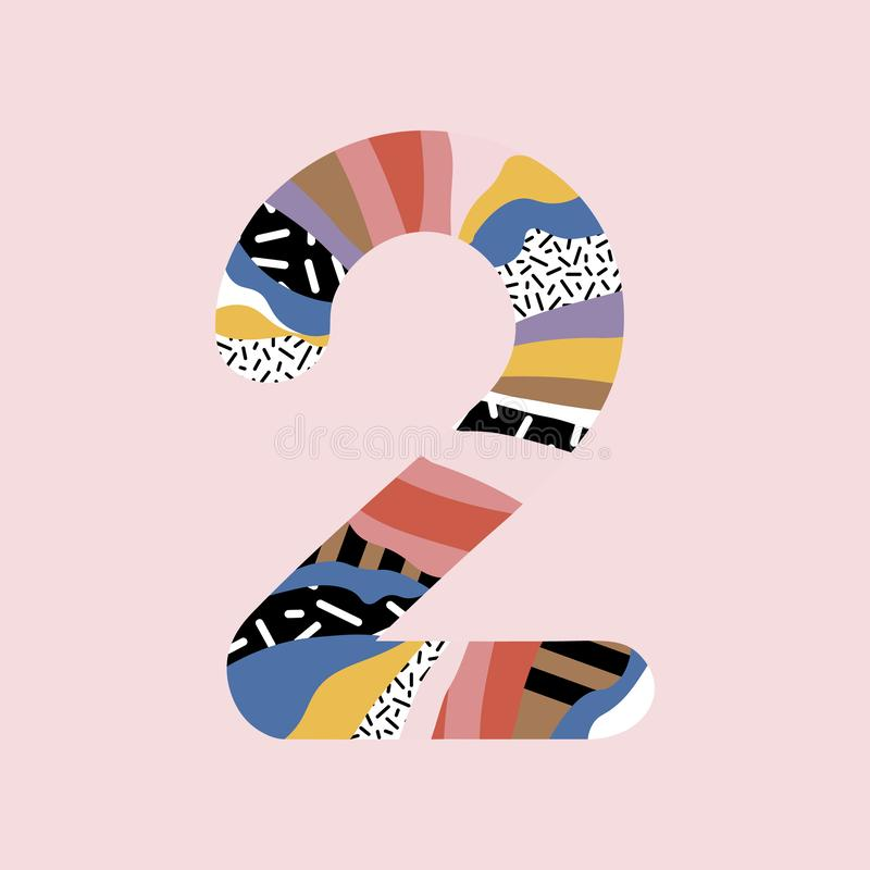 Number 2. Signs in line flat style. Cute modern capital numbers. Vector trendy flat line figures. Number two royalty free illustration