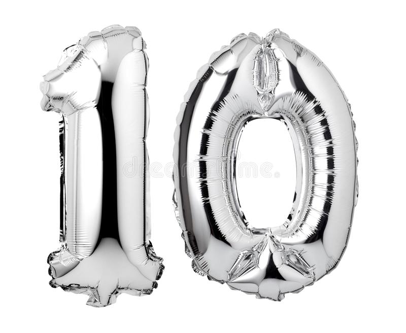 number 10 of silver foil balloons stock photography